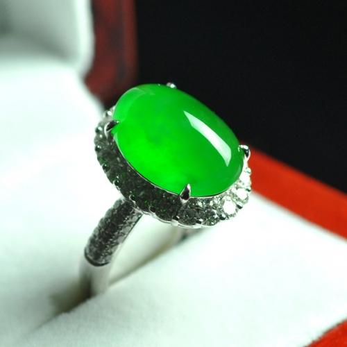 LK3-5玻璃种满绿戒指